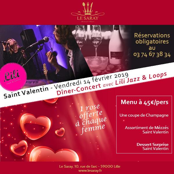 Menu spécial Saint Valentin 2020 avec rose, champagne et musique au cœur de Lille